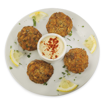 Anchovy balls with tahini sauce
