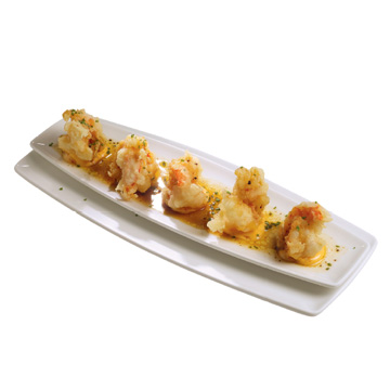 Prawn tempura in chili sesame dressing