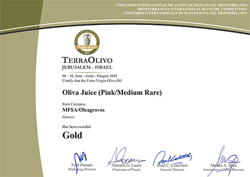 Olea Juice™ Pink/Medium Rare wins Prestige Gold
