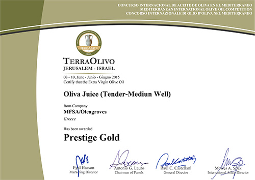 Olea Juice™ Tender-Mediun Well wins Prestige Gold